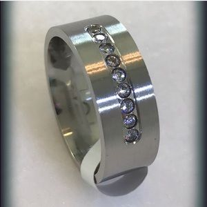 Other - Men's 8 MM Stainless Steel Channel Set Ring 10